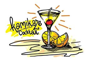 kamikaze cocktail tropicale vettoriale