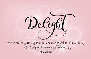 carattere corsivo calligrafia moderna stile pennello scritto a mano