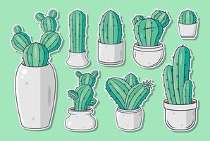 set di adesivi o etichette di cactus simpatico cartone animato vettore
