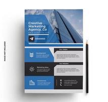 modello pronto per la stampa di volantino blu in formato a4