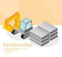banner di costruzione isometrica vettore