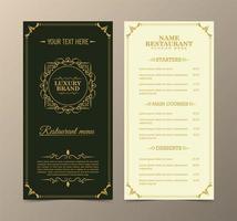 menù del ristorante con elegante stile ornamentale