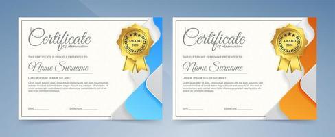 certificati nei colori blu e arancio