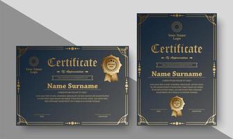 certificati con ornamento cornice dorata vettore