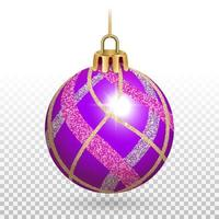 ornamento di palla di Natale lilla lucido con strisce glitterate