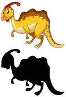 set di personaggio dei cartoni animati di dinosauro e la sua silhouette vettore