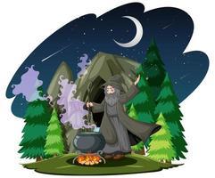 mago con pentola magica nera in stile cartone animato