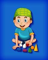 personaggio dei cartoni animati musulmano maschio su gradiente blu