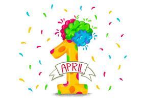 Colorato divertente numero uno per il primo di aprile vettore