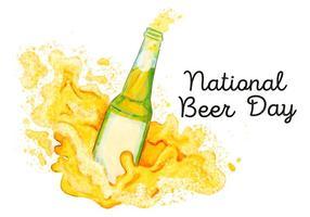Acquerello Splash Beer Bottle al giorno della birra nazionale vettore