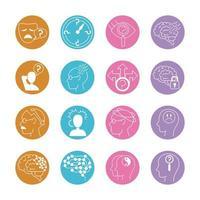 set di icone di sintomi di malattia di Alzheimer e demenza
