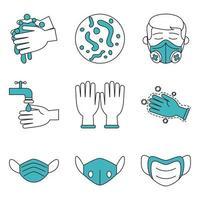 set di icone di coronavirus e infezione virale vettore