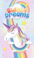 icona di unicorno su sfondo pastello magico vettore