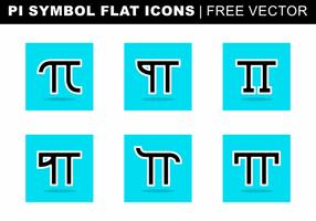 Vettore libero delle icone piane di simbolo di pi
