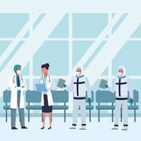 medici che indossano maschere mediche all'interno della sala d'attesa vettore
