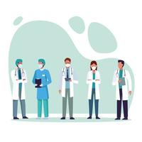 gruppo di medici che indossano maschere mediche vettore