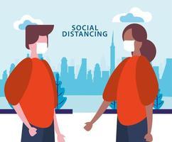 coppia che utilizza maschere facciali mentre si allontana sociale dal covid19