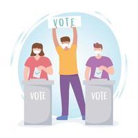persone con maschere, segno di voto e schede elettorali