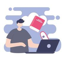formazione online, ragazzo studente con computer e libro