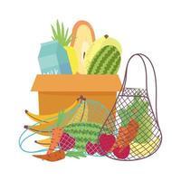 scatola di cartone, sacchetto ecologico con frutta e verdura fresca