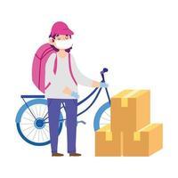 corriere mascherato con bici e scatole di cartone vettore