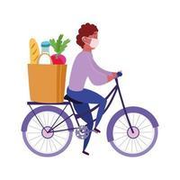 corriere uomo in sella a bicicletta con maschera e borsa della spesa vettore