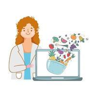 dietista che mostra laptop con frutta e verdura fresca vettore