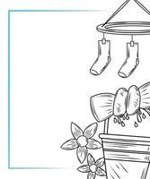 elementi di lavanderia e composizione di vestiti