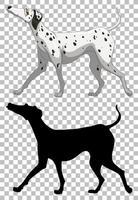 cane dalmata e la sua silhouette vettore