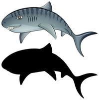 personaggi dello squalo e la sua silhouette vettore