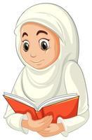 donna musulmana araba in abiti tradizionali leggendo il libro vettore