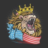 re leone con bandiera americana vettore