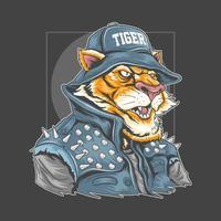 cartone animato tigre in giacca e cappello a bilanciere in denim vettore