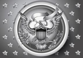 American Eagle Emblem con effetto argento Vecto r vettore