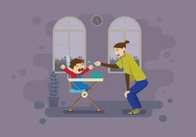 Madre che alimenta il suo bambino gridante dentro l'illustrazione domestica vettore