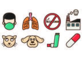 Set di icone di asma