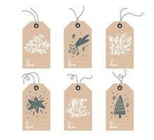 set di etichette natalizie scandinave doodle disegnato a mano