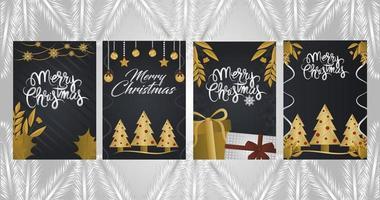 impostare biglietti di auguri di Natale deluxe vettore