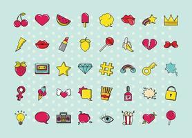 vari pop art, set di icone colorate