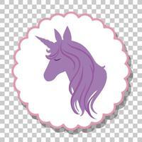 silhouette testa di unicorno isolato vettore
