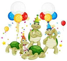 gruppo di tartarughe nel personaggio dei cartoni animati a tema festa vettore