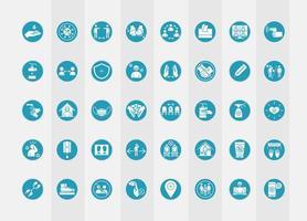 set di icone pittogramma prevenzione coronavirus