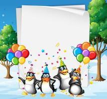 modello di carta con simpatici animali in festa vettore