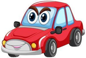 macchina rossa con carattere di cartone occhi grandi isolato