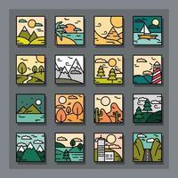 collezione di icone di paesaggio quadrato