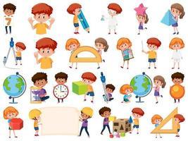 set di bambini con oggetti di educazione