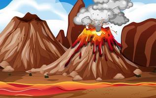 eruzione del vulcano nella scena della natura durante il giorno