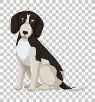 beagle nero in posizione seduta vettore
