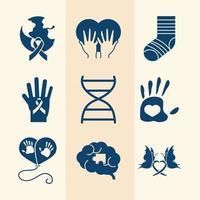 set di icone del pittogramma della giornata mondiale della sindrome di down