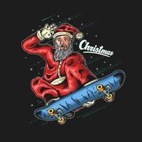grafica di Babbo Natale skateboarder